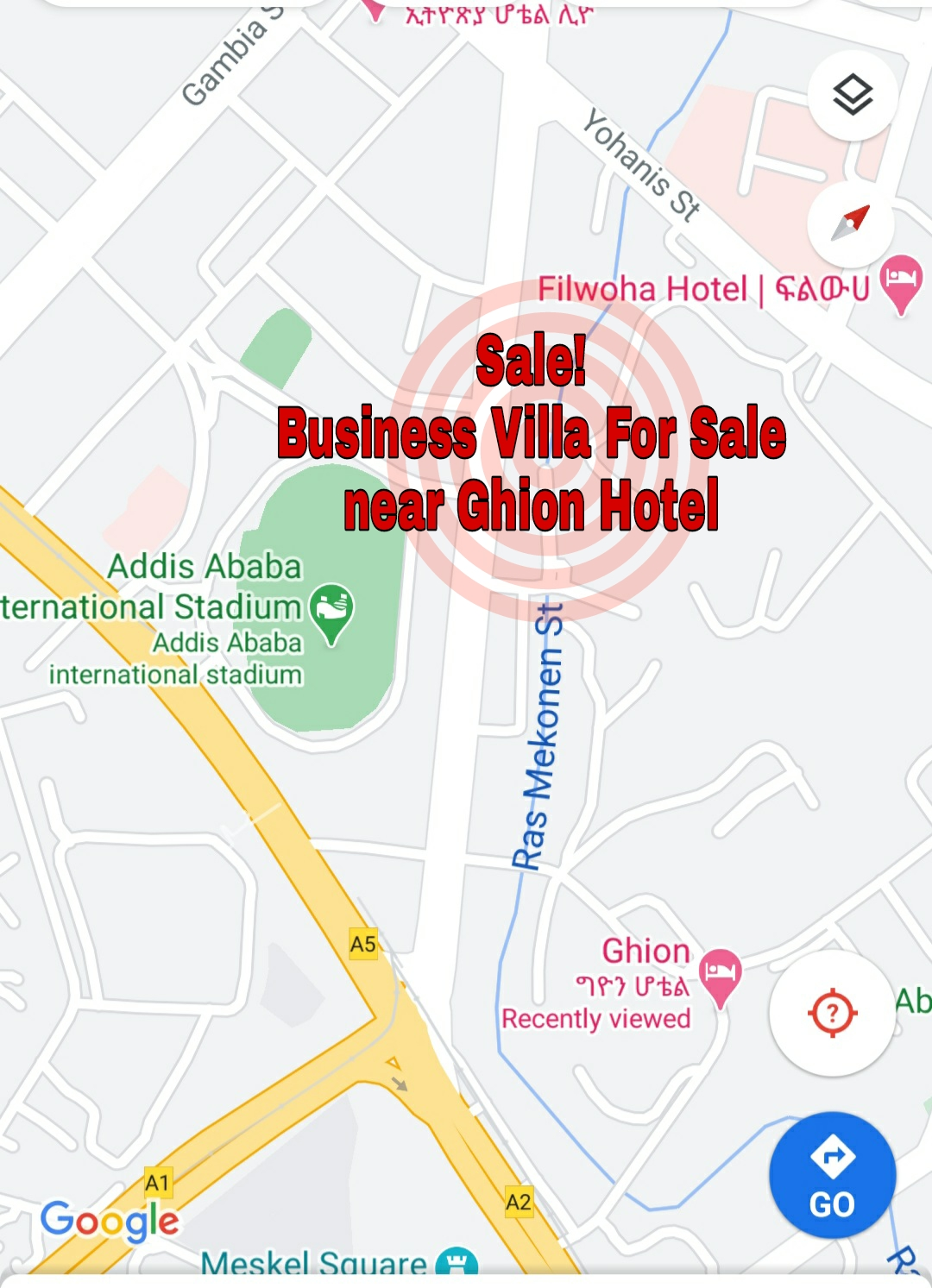 Sale!! Business Villa For Sale in Addis Ababa, Near Ghion Hotel